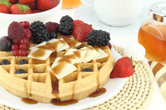Breakfast with waffle Stock Image