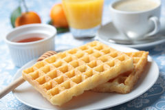 Breakfast with waffles Royalty Free Stock Image