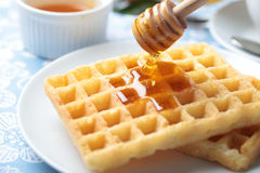 Breakfast with waffles Royalty Free Stock Photography