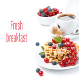 Breakfast with waffles, berries and coffee Royalty Free Stock Photography