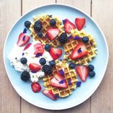 Breakfast with waffles and berries Royalty Free Stock Photo