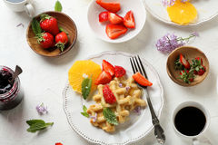 Breakfast with waffles and coffee Royalty Free Stock Image