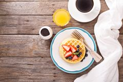 Breakfast waffles with fresh berries Royalty Free Stock Photos