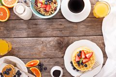 Breakfast waffles with fresh berries Stock Photography