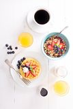 Breakfast waffles with fresh berries Royalty Free Stock Images