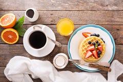 Breakfast waffles with fresh berries Stock Photo