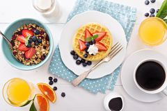 Breakfast waffles with fresh berries Stock Images