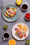 Breakfast waffles with fresh fruit. Stock Photography