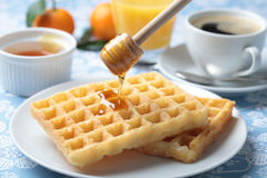 Breakfast with waffles and honey Stock Images