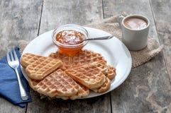 Breakfast with waffles Stock Photo