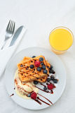 Breakfast with Waffles and Juice Royalty Free Stock Photos