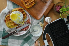 Breakfast waffles. With potatoes and egg Stock Image
