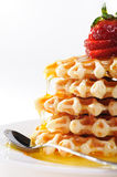Breakfast - Waffles and strawberries Royalty Free Stock Photography