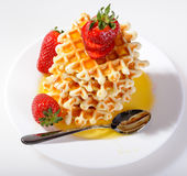 Breakfast - Waffles and strawberries Royalty Free Stock Images