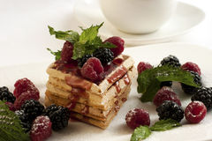 Breakfast - waffles with syrup and berries Stock Photos