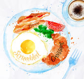 Breakfast watercolors bacon eggs. Breakfast painted with watercolors on a plate eggs bacon lettuce tomato a cup of coffee with a fork Stock Images