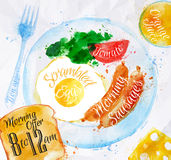Breakfast watercolors sausage eggs. Breakfast painted with watercolors on a plate eggs sausage tomato salad fork a glass of juice, toast with text friction Royalty Free Stock Image