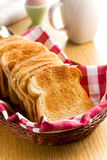 Breakfast. White toasted bread. Royalty Free Stock Image