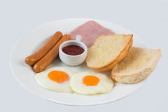 Breakfast on whitebackground. A good meals for morning to start all day Stock Image