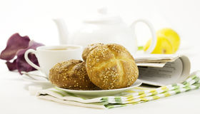 Breakfast whith Crusty French Bread Royalty Free Stock Photography