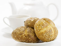 Breakfast whith Crusty French Bread Stock Images
