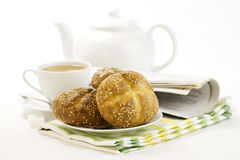 Breakfast whith Crusty French Bread Stock Photography