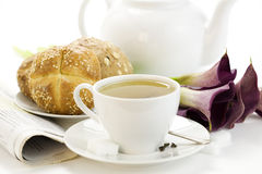 Breakfast whith green tea Crusty French Bread Royalty Free Stock Images