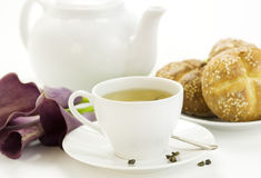 Breakfast whith green tea Crusty French Bread Royalty Free Stock Photography