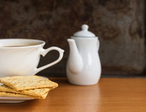 Breakfast. Whole wheat cracker with cup coffee in the morning Royalty Free Stock Photos