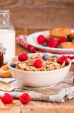 Breakfast with wholegrain cereals. Royalty Free Stock Image