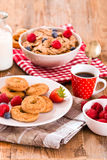 Breakfast with wholegrain cereals. Stock Images
