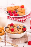 Breakfast with wholegrain cereals. Royalty Free Stock Photography