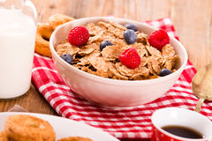 Breakfast with wholegrain cereals. Royalty Free Stock Photo