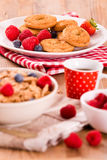Breakfast with wholegrain cereals. Royalty Free Stock Images