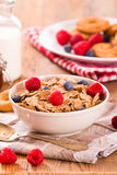 Breakfast with wholegrain cereals. Stock Photography