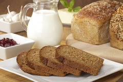 Breakfast with wholemeal bread Stock Photos