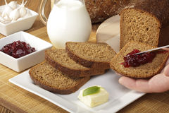 Breakfast with wholemeal bread Royalty Free Stock Images