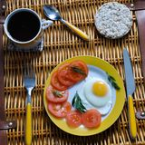 Breakfast on a wicker basket royalty free stock images