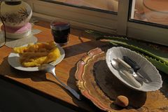 Breakfast on the windowsill royalty free stock photography