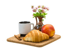 Breakfast wirh coffee and croissant Stock Photos