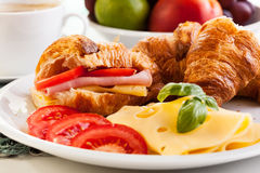 Breakfast witch croissant, cheese and hot coffee Royalty Free Stock Images