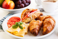 Breakfast witch croissant, cheese and hot coffee Stock Image