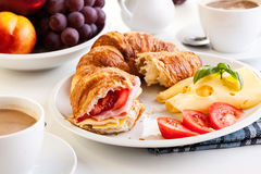 Breakfast witch croissant, cheese and hot coffee Stock Photography