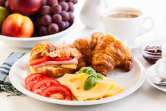 Breakfast witch croissant, cheese and hot coffee Stock Photo