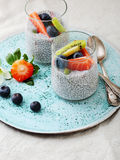 Breakfast With Chia Seed And Fresh Berry Royalty Free Stock Photos
