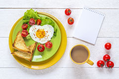 Breakfast With Heart-shaped Fried Egg, Toast, Cherry Tomato, Let Stock Images