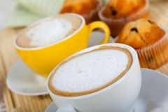 Breakfast With Muffins ,coffee, And Cappuccino Royalty Free Stock Photos