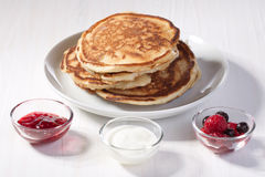 Free Breakfast With Pancakes And Strawberry Jam Stock Photography - 18204862