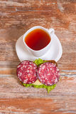 Breakfast With Salami Sandwich And Cup Of Tea Stock Photography