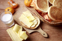 Breakfast With Toast Bread And Cheese Stock Photo